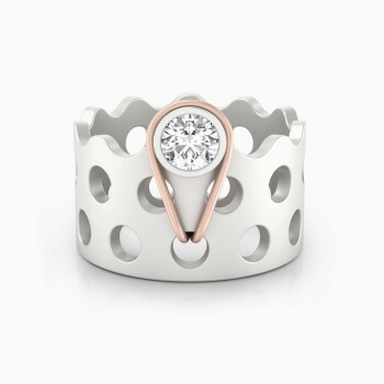 Anell de diamants or blanc i vemell de 18k amb 1 diamant
