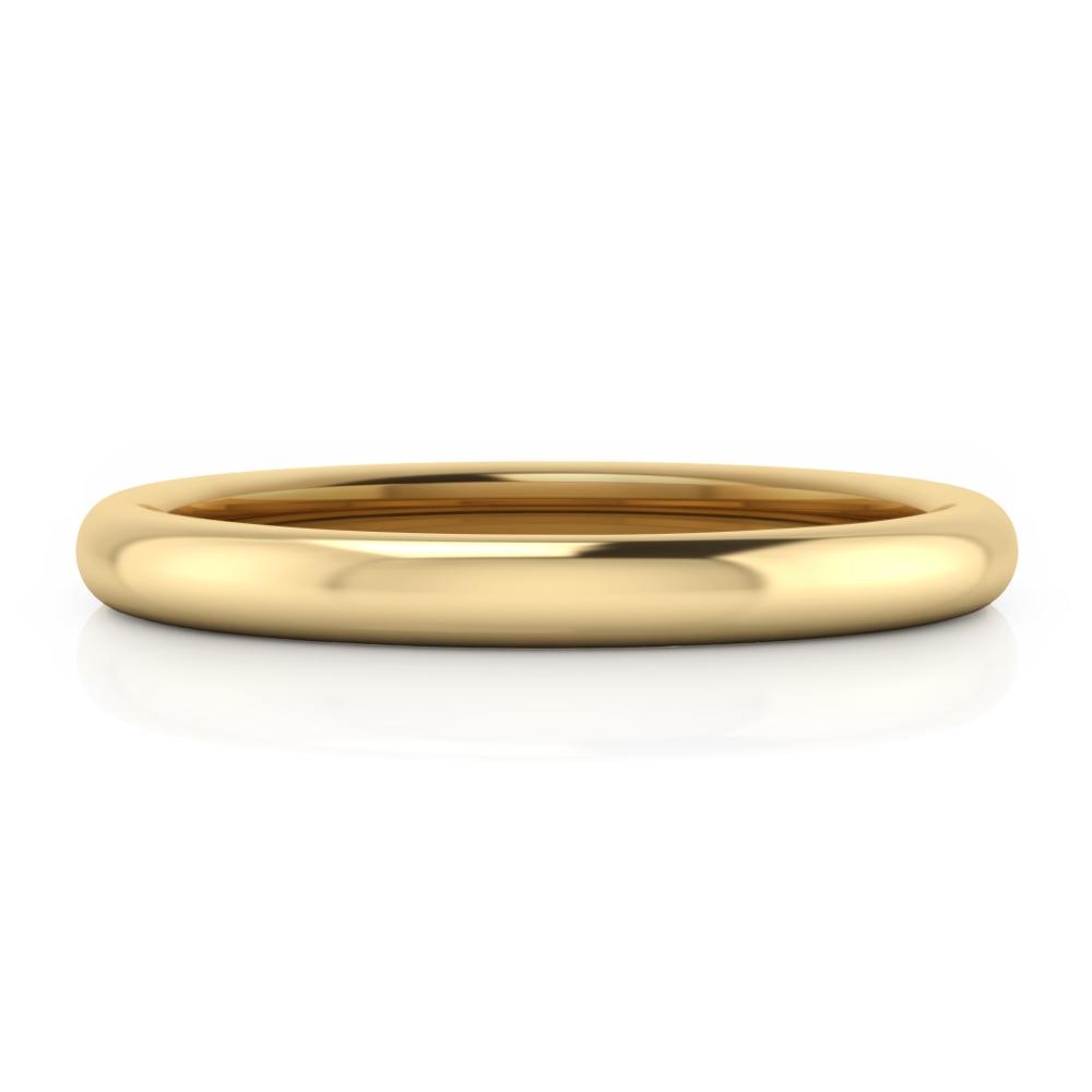 Aliança de boda clàssica per a home, en or groc, estil mitja canya.