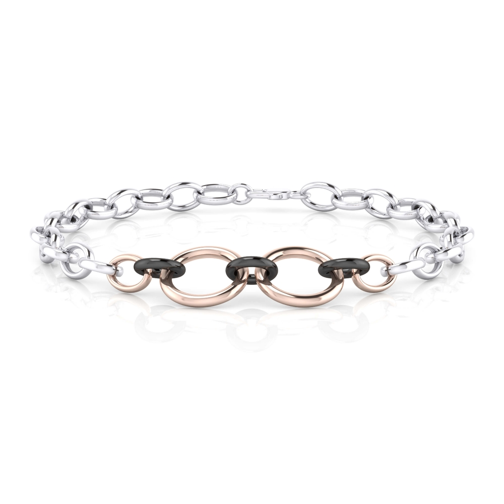 Braçalet home d'anelles en plata amb combinació de colors.