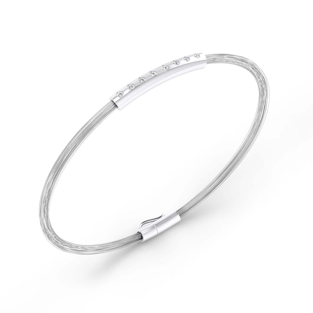 Braçalets per a home en plata de lley  fils d'acer amb 8 diamants
