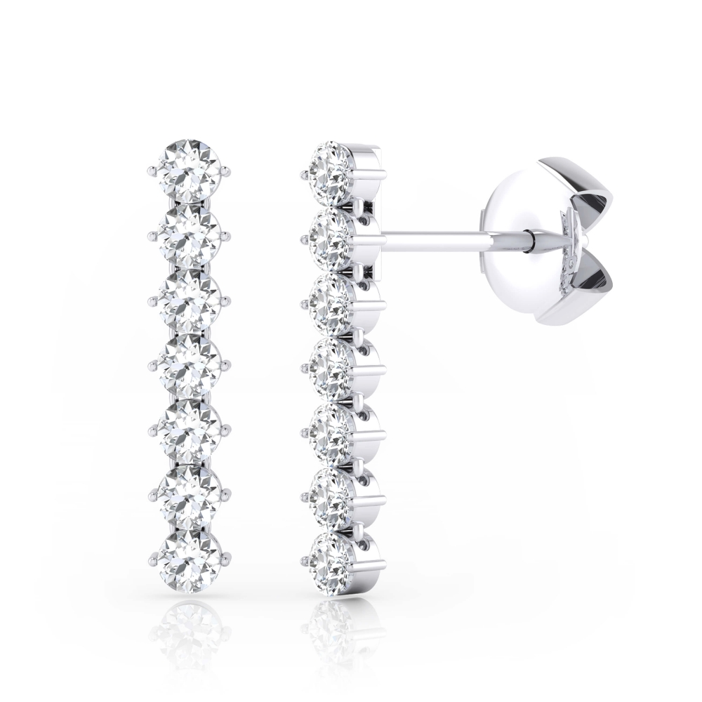 Arrecades amb 14 diamants or blanc 18k