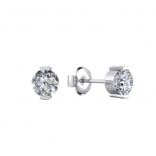 Arrecades en or blanc 18k amb 2 diamants