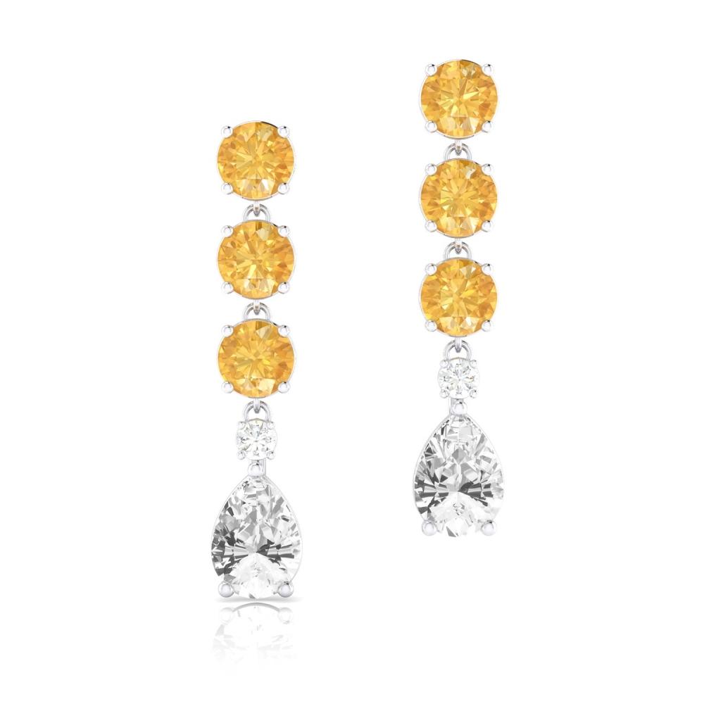 Arracades llargues d'or de 18k amb Quars Citrí, Topazi i diamant