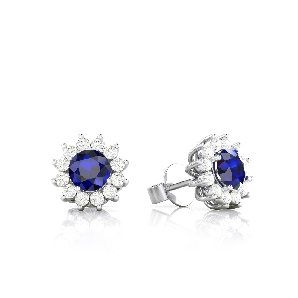 Arracades d'or blanc de 18k amb safir i diamants