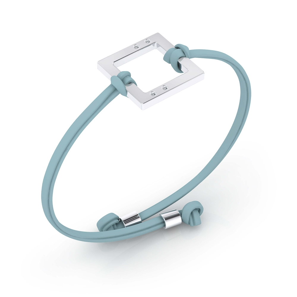 Braçalet de plata amb cordó de pell blau turquesa, amb 4 diamants.