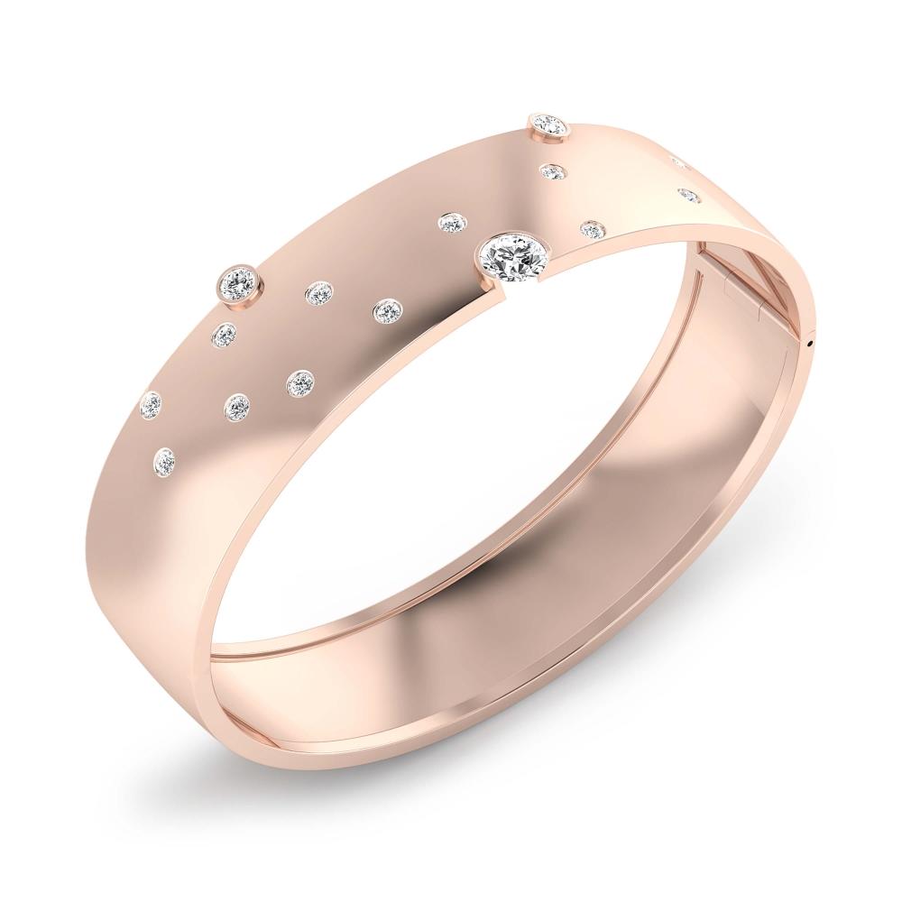 Braçalets en or rosa 18k amb 17 diamants