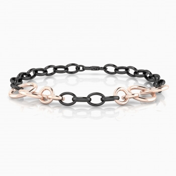 Braçalet d'anelles d'or blanc, rodi negre i or rosa 18 quirats.