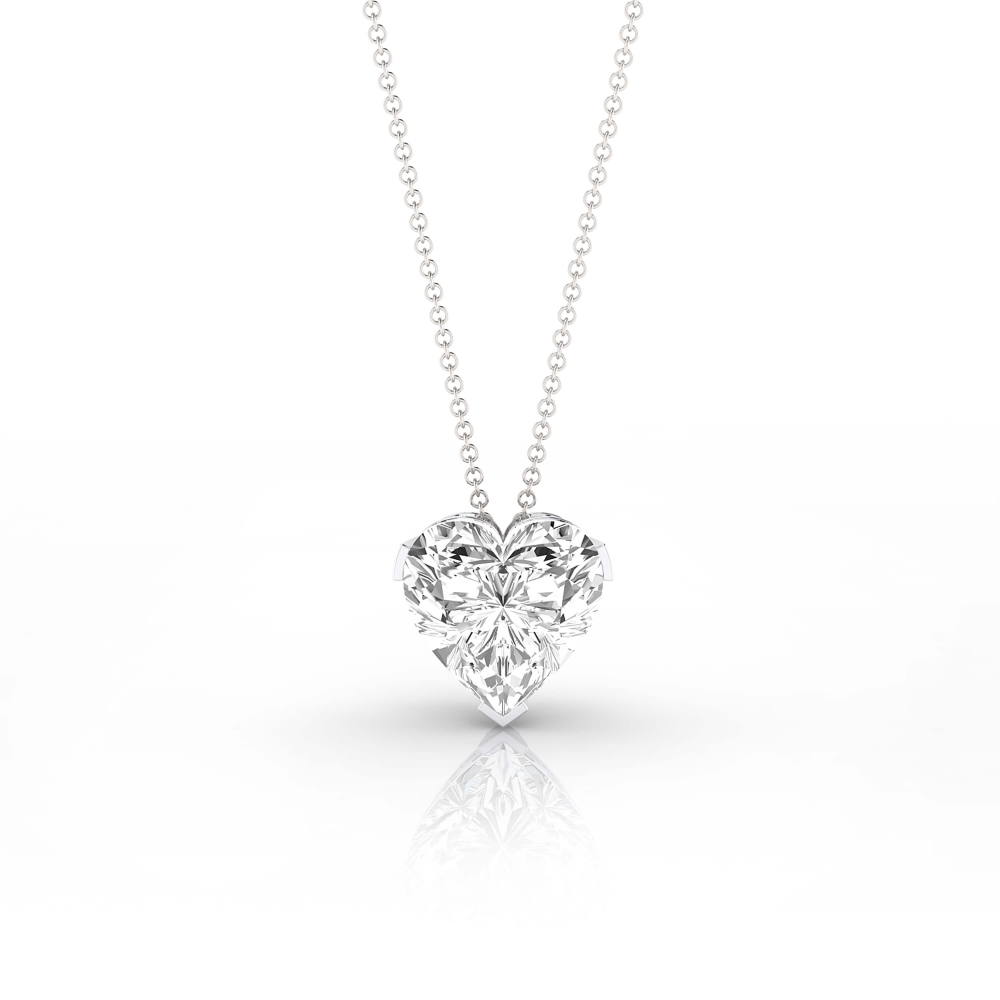 Collar en or blanc 18k amb 1 diamant talla cor