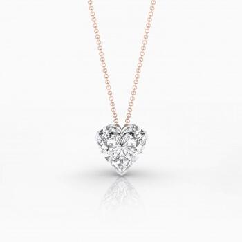 Collar en or rosa 18k amb 1 diamant talla cor