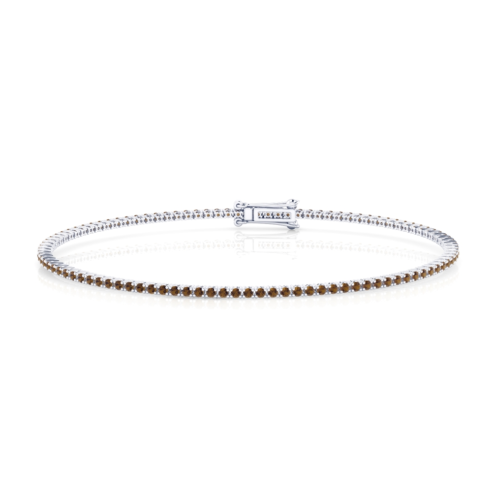 Riviere de diamants d'or blanc de 18kt amb diamants brown de 0,01qt - grapa rodona