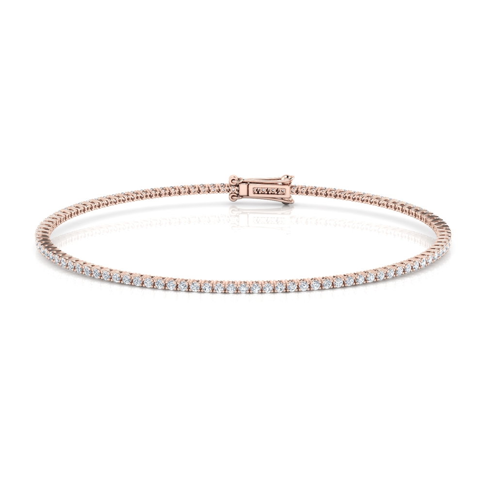 Riviere de diamants d'or rosa de 18kt amb diamants de 0,01qt - grapa rodona
