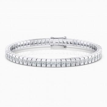 Riviere de diamants d'or blanc de 18kt amb diamants talla princesa de 0,082qt