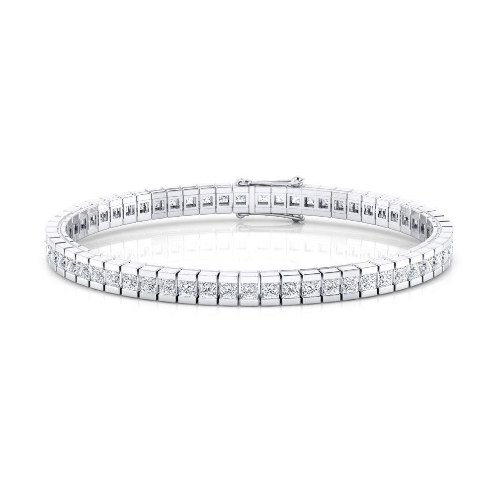 Riviere de diamants d'or blanc de 18kt amb diamants talla princesa de 0,082qt