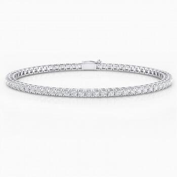 Riviere de diamants d'or blanc 18 quirats amb diamants de 0,05ct i grapa quadrada.