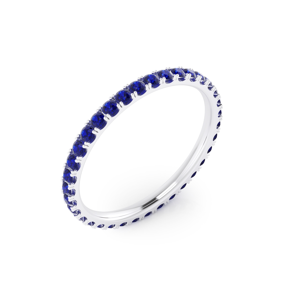 Sapphires ring made of 18k white gold