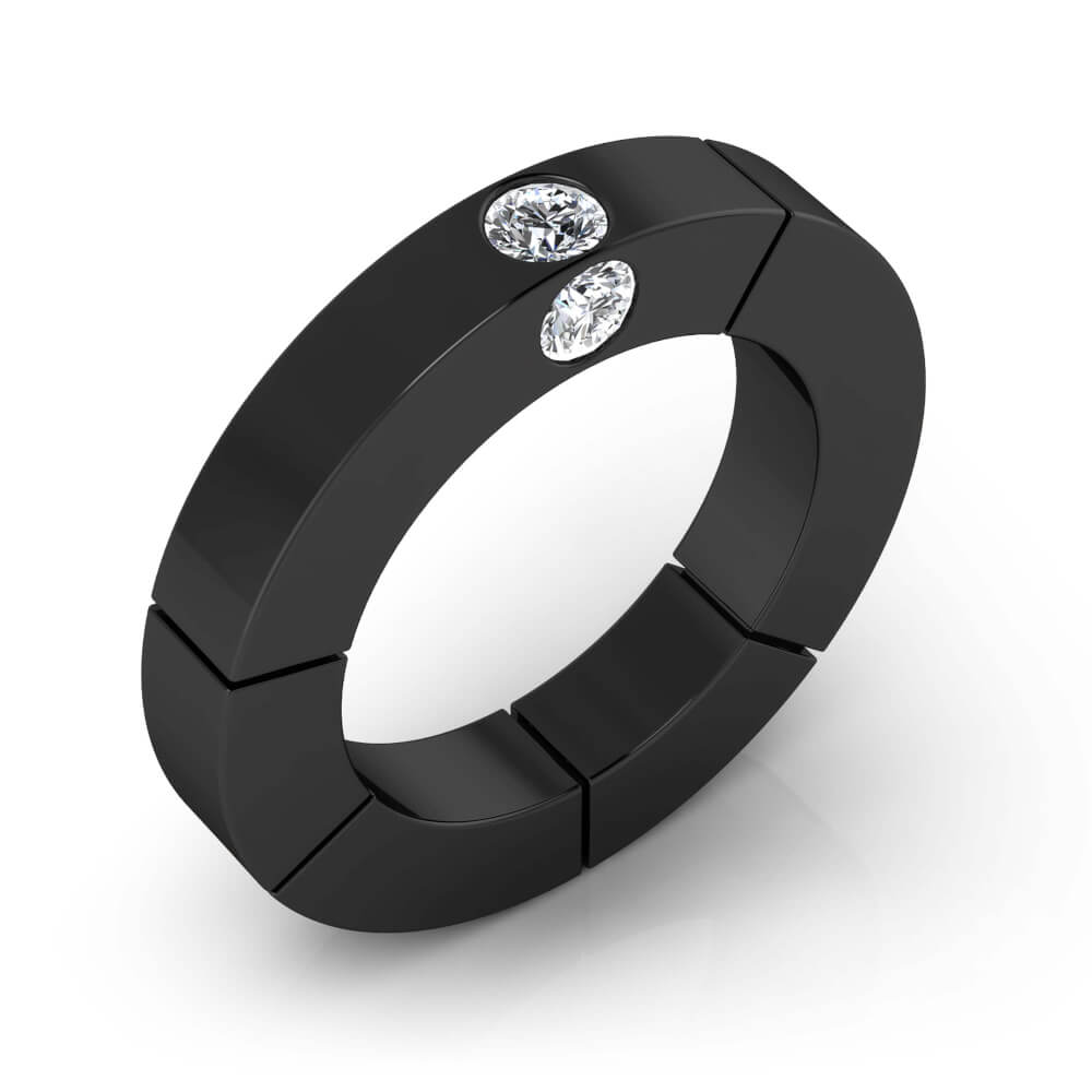 Diamond Ring 18k black gold with 3 diamonds