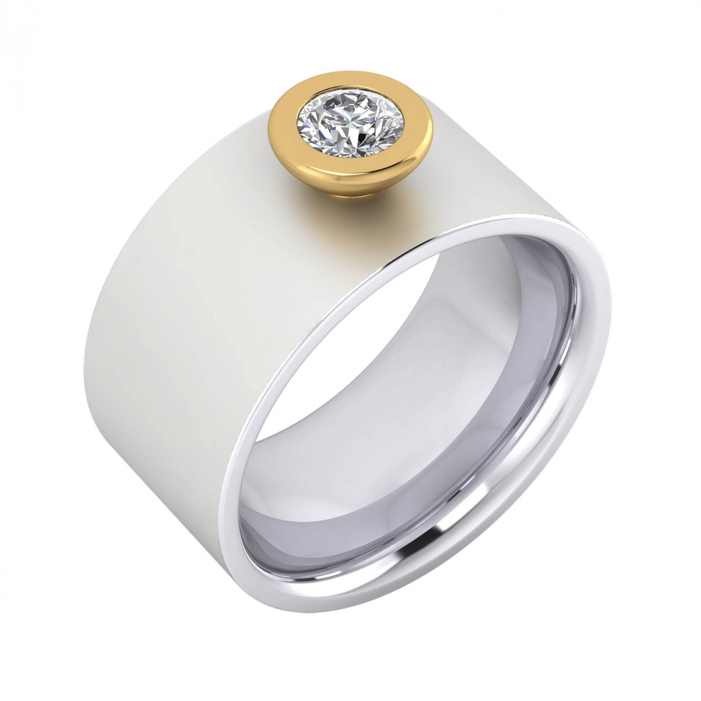 Diamond Ring 18k white gold with yellow gold mount