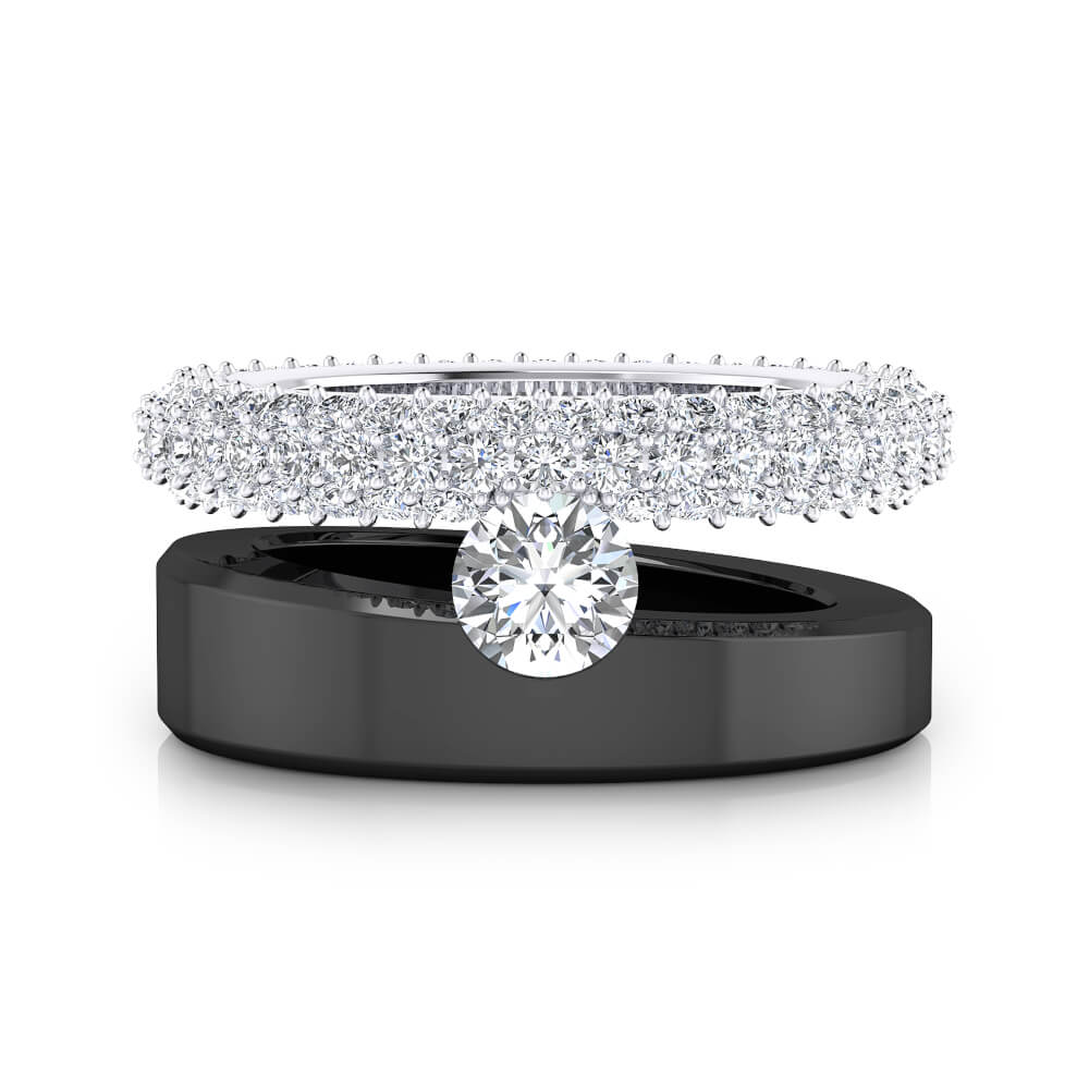 Diamond Ring 18k black and white gold with 121 diamonds