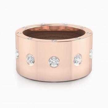 Diamond Ring 18k pink gold with 25 diamonds