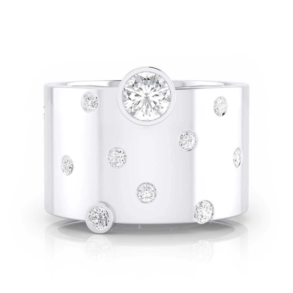 Diamond Ring 18k white gold with 14 diamonds