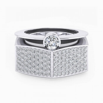 Ring in 18k white gold with 190 diamonds