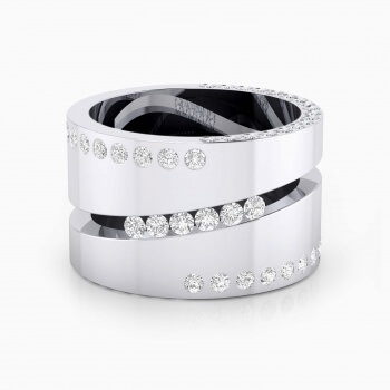 Diamond Ring 18k white gold with 80 brilliant cut diamond