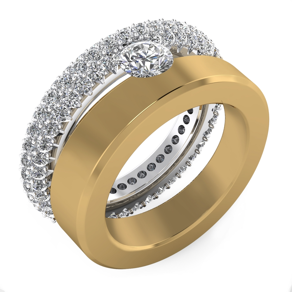 Diamond Ring 18k white gold and yellow gold with 121 brilliant cut diamond