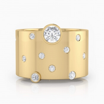 Diamond Ring 18k yellow gold with 14 diamonds
