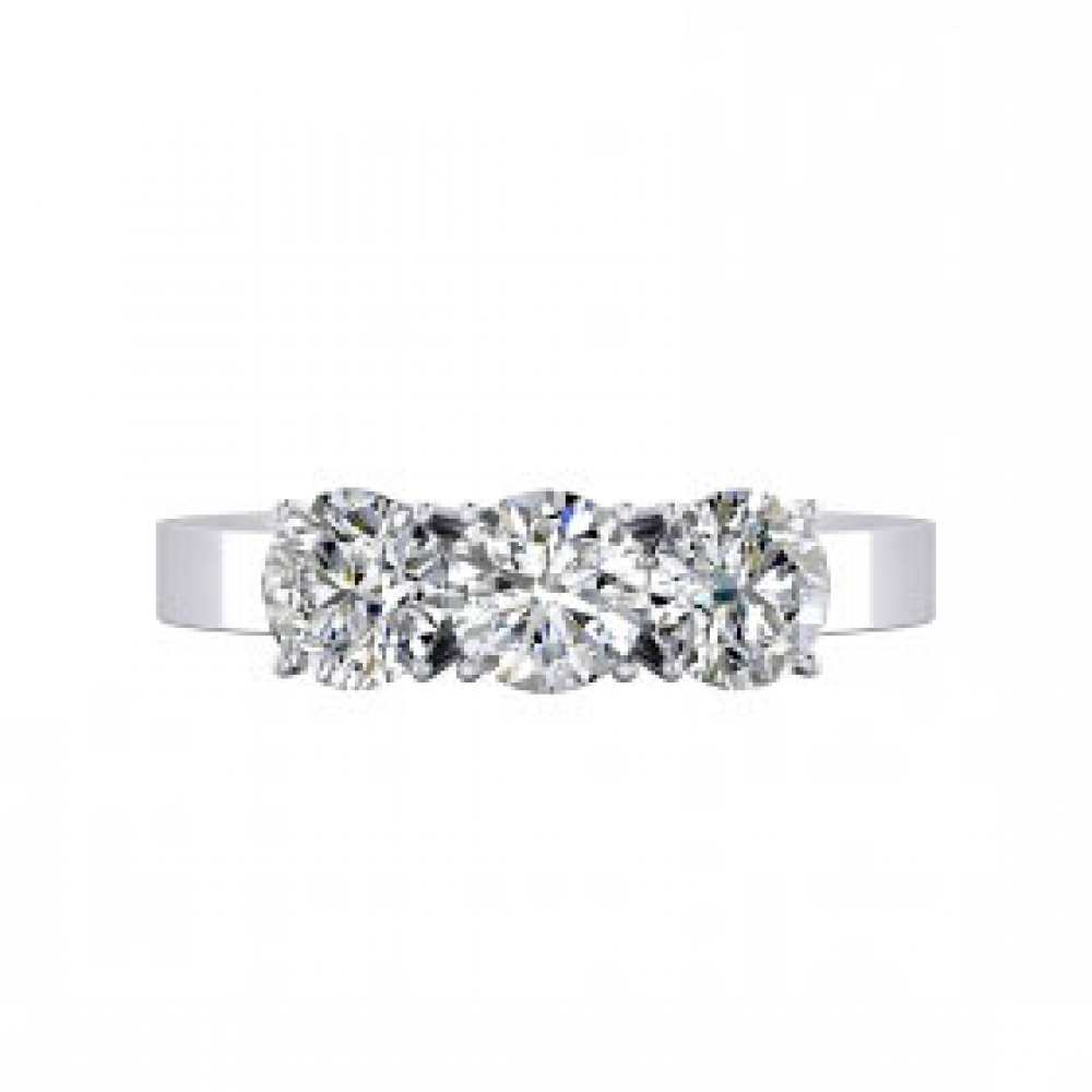 Rings 18k white gold 3 brilliant cut diamond