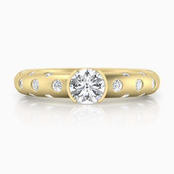 Ring 18k yellow gold with 56 brillant cut diamond