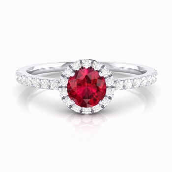 Halo diamond ring with ruby