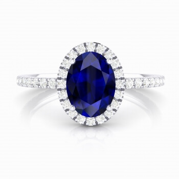 Halo diamond ring with sapphire