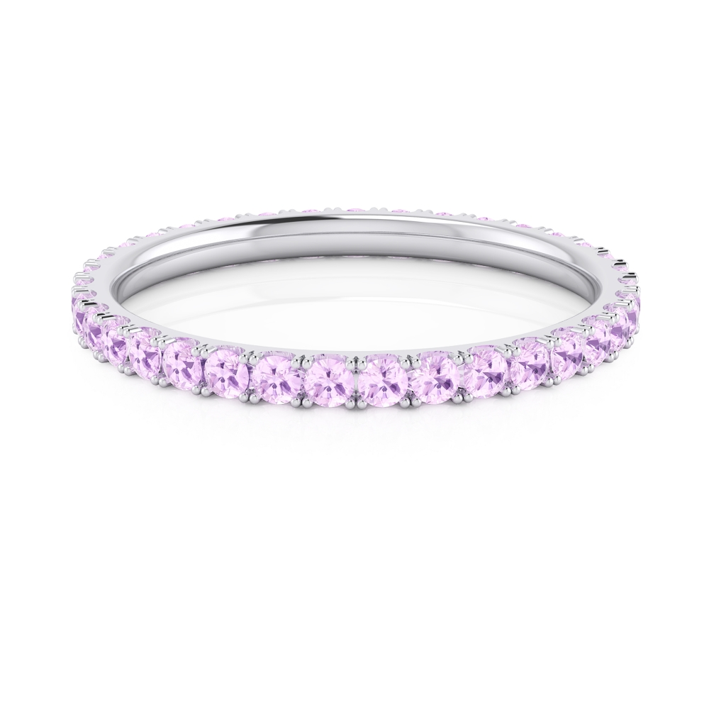 Pink sapphires ring made of 18k white gold