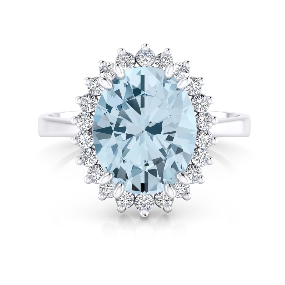 18kt white gold ring with aquamarine and diamonds