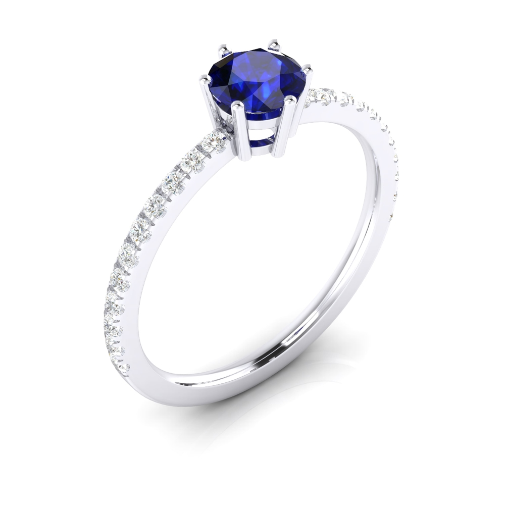 Ring with brilliant cut sapphire and diamonds