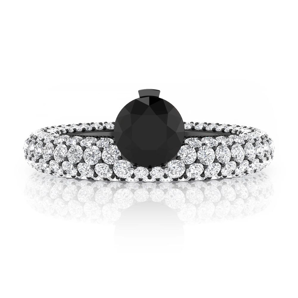 White gold diamond rings with 143 diamonds with black diamond