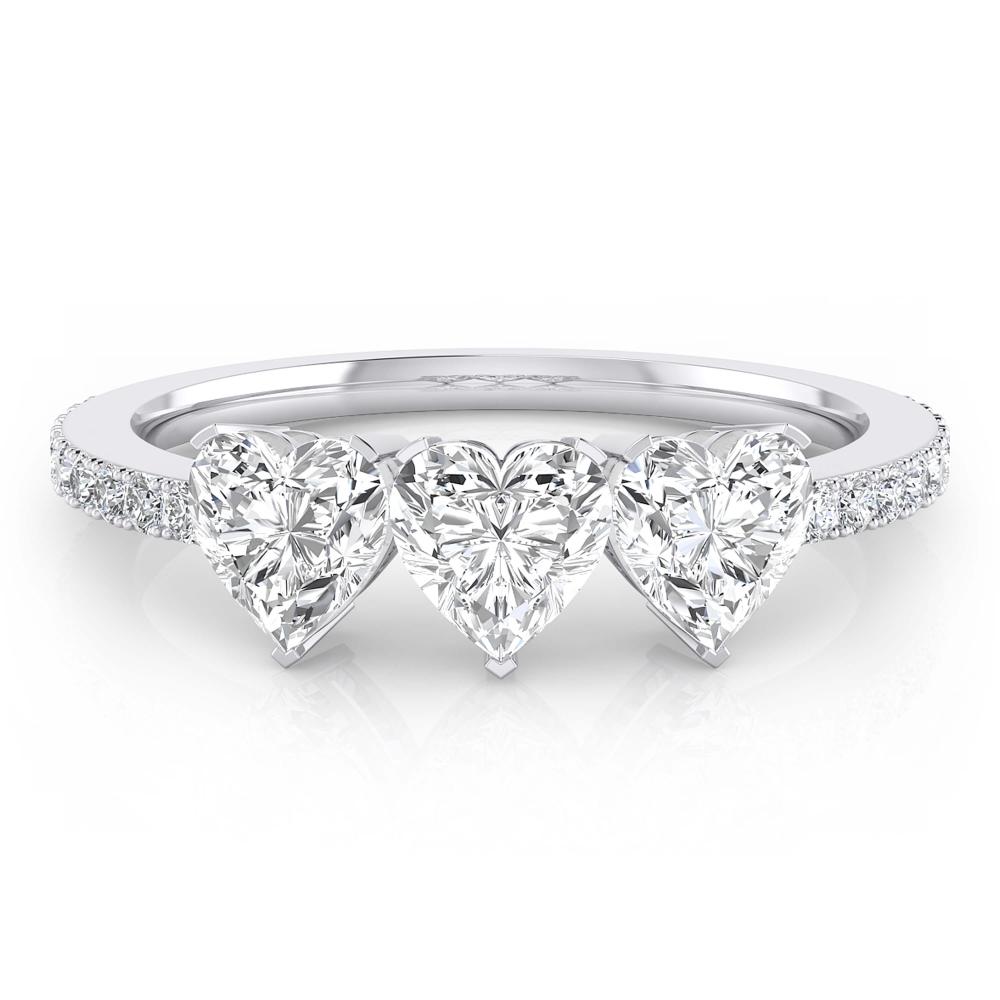 White gold diamond ring with 3 heart-cut diamonds