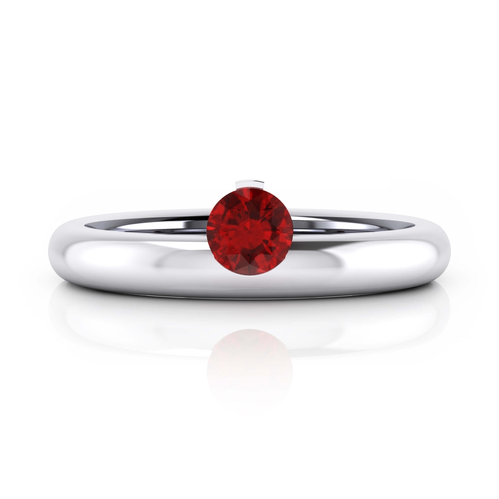 White gold ring with a natural Burma Ruby
