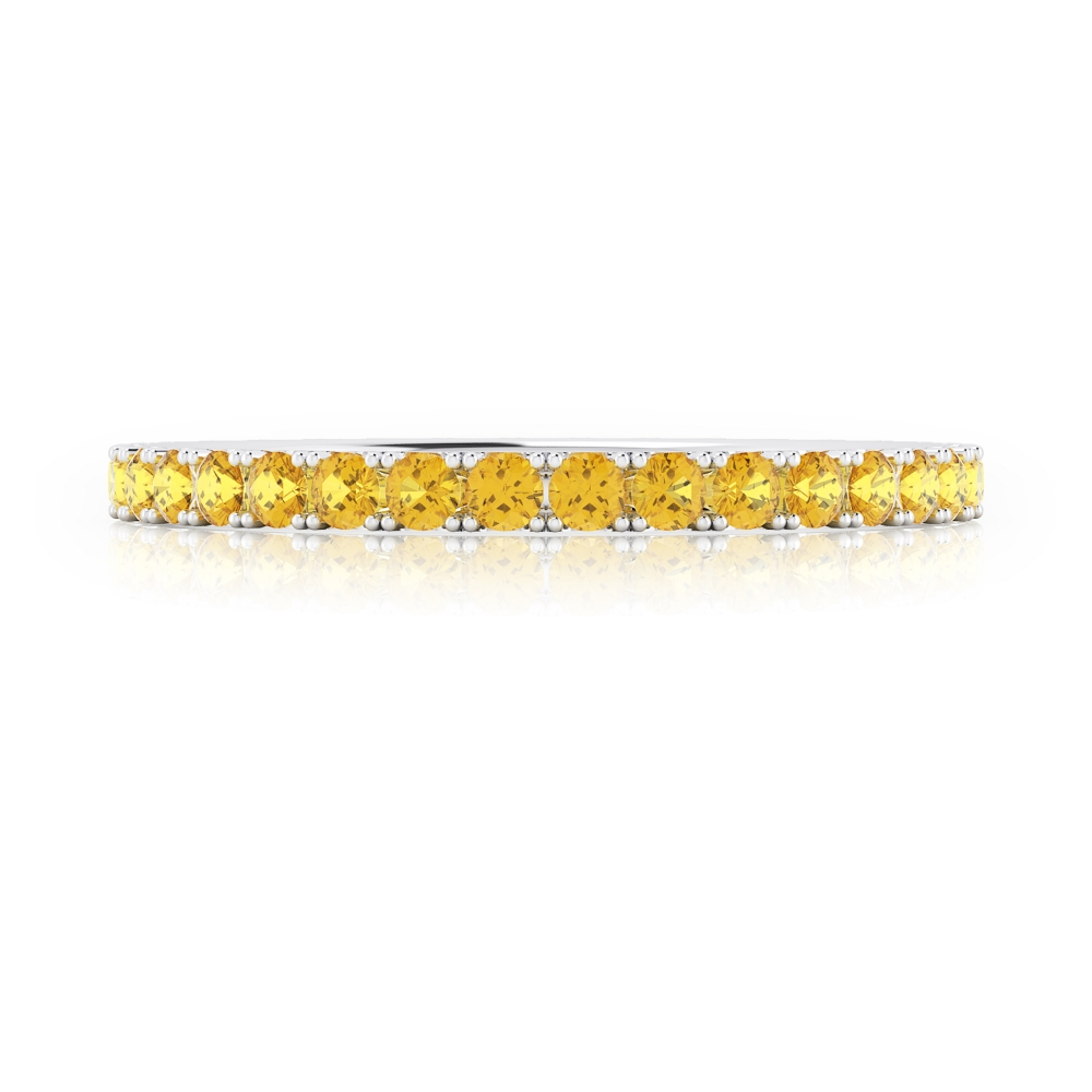 Yellow sapphires ring made of 18k white gold
