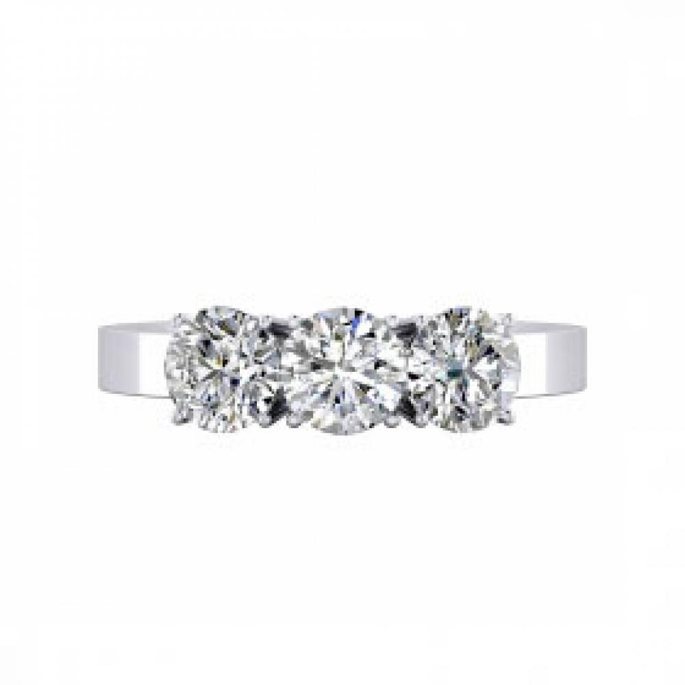Engagement Rings 18k white gold 3 brilliant cut diamond. ( - 15%! )