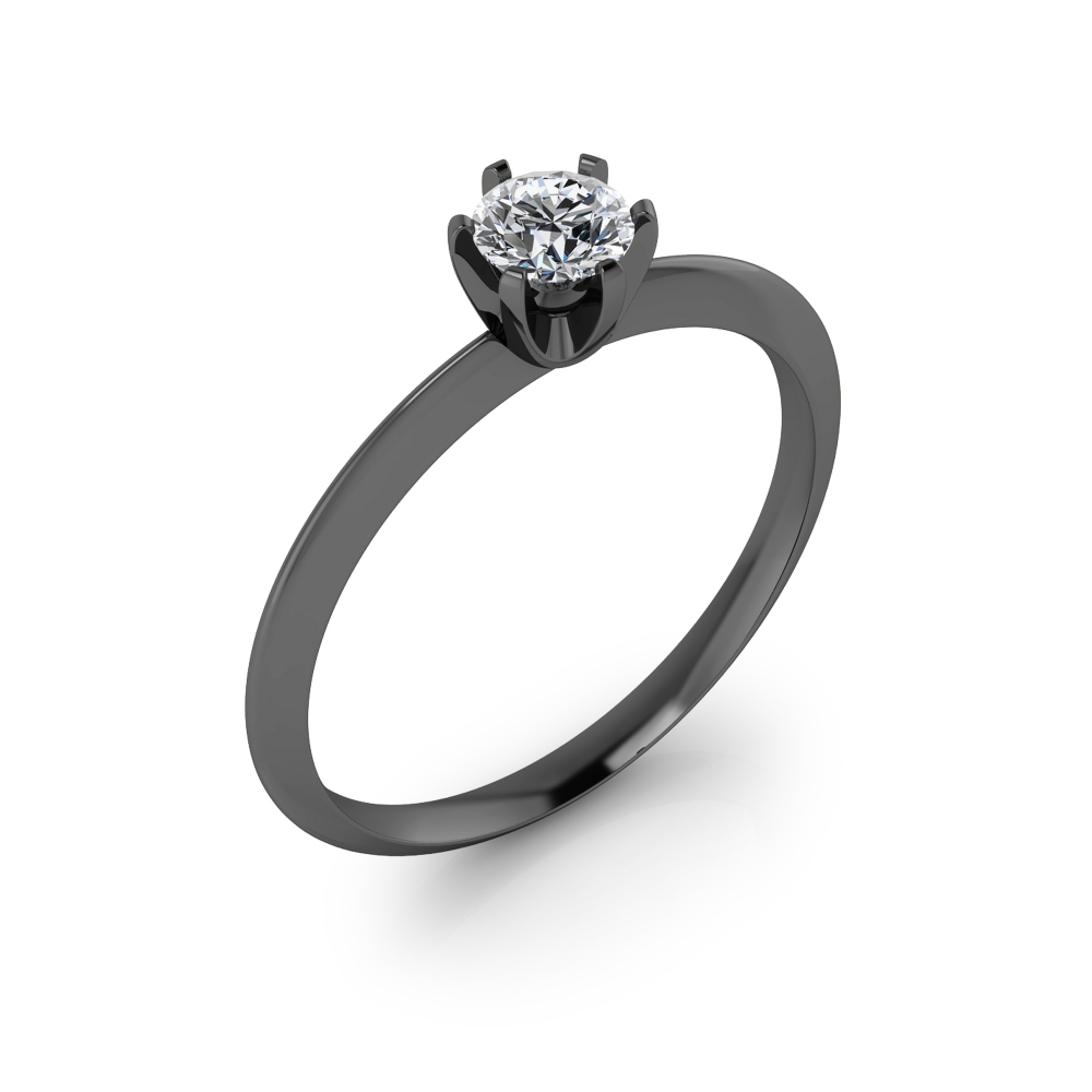 Black gold engagement ring with a round cut shape diamond.