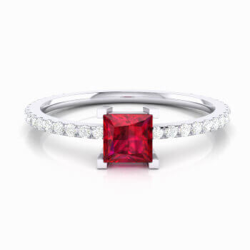 Engagement ring with red Rubellite and diamonds