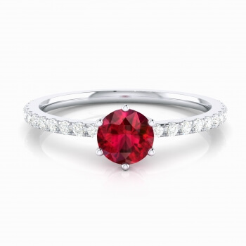 Engagement ring with brilliant cut ruby and diamonds