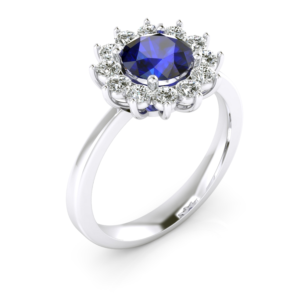 Engagement ring with sapphire and diamonds