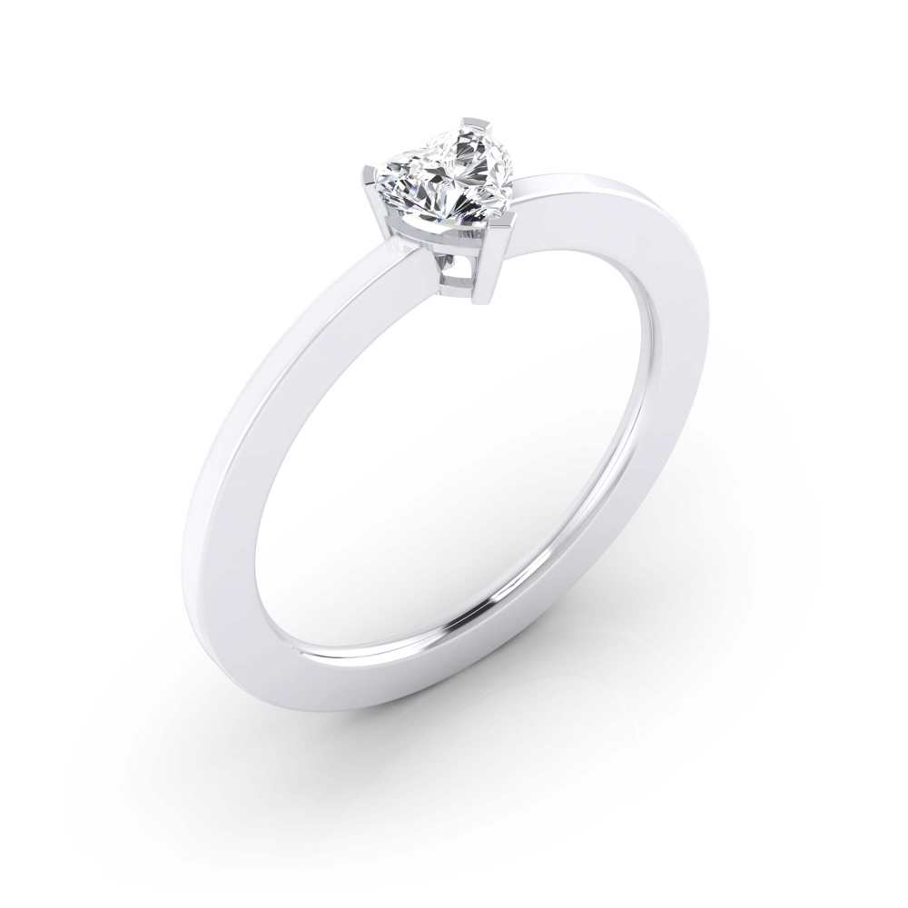 White gold engagement ring with a heart cut shape diamond. ( -20% !)