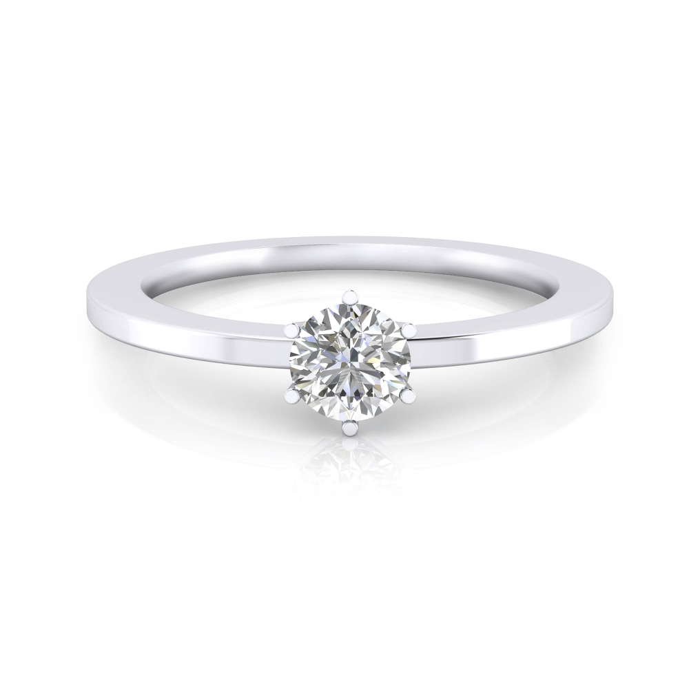 White gold engagement ring with a round cut shape diamond