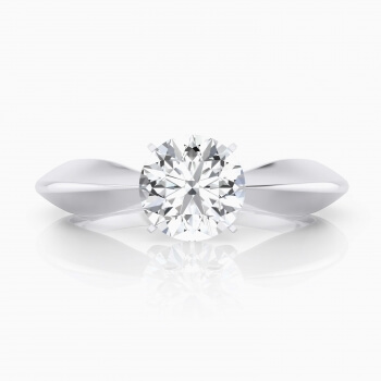 Modern  engagement ring, four points, solitary style, 18 k white gold