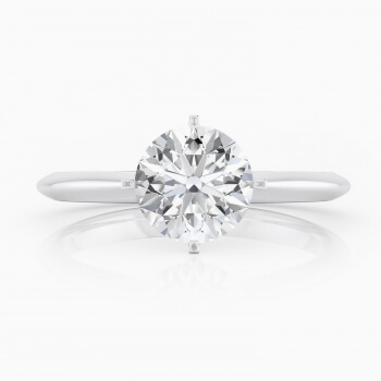 Refined engagement ring, four points, solitary style, 18 k white gold
