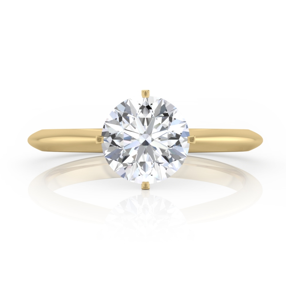 Refined engagement ring, four points, solitary style, 18 k yellow gold