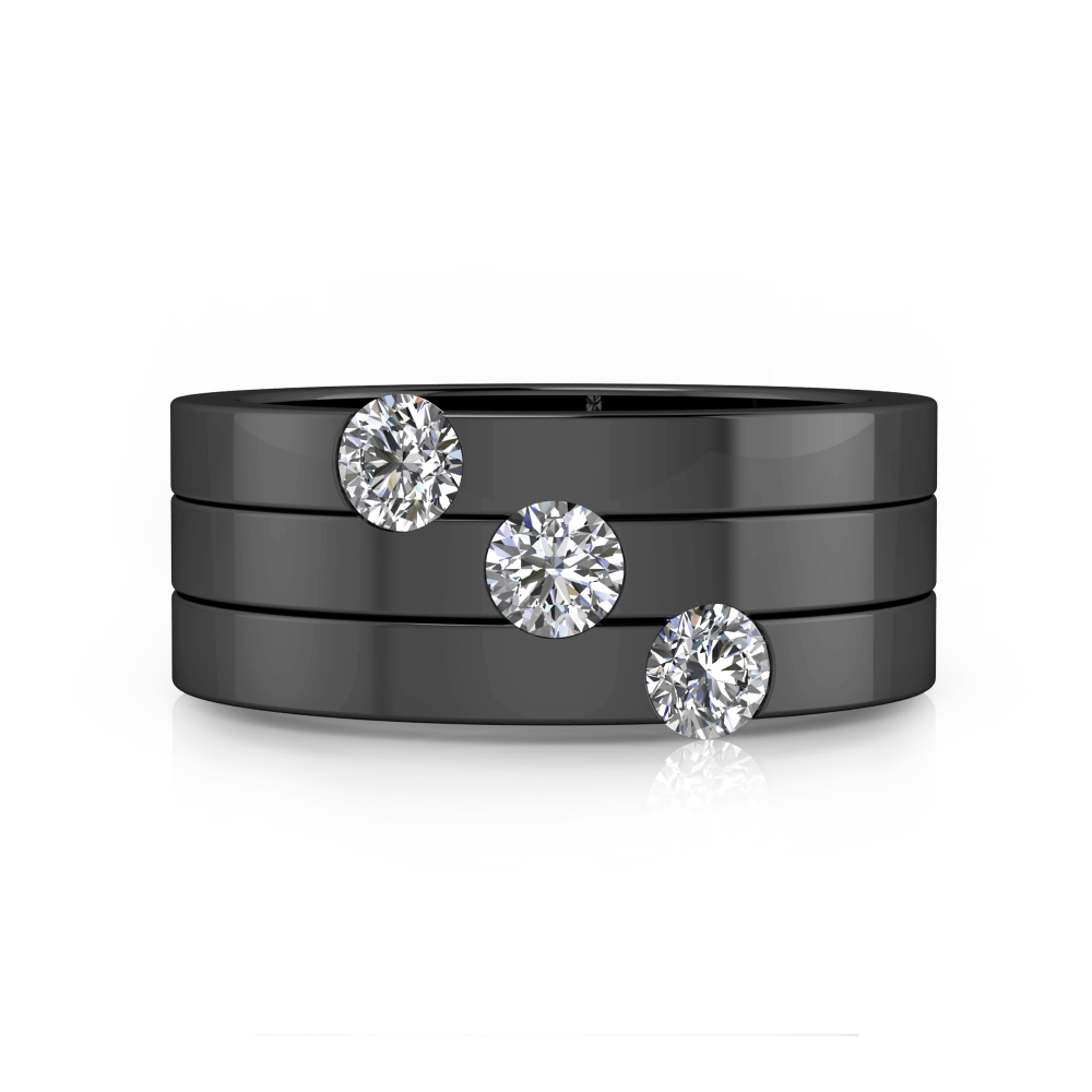 Engagement Rings 18k black gold with 3 brilliant cut diamond